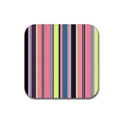 Seamless Colorful Stripes Pattern Background Wallpaper Rubber Square Coaster (4 Pack)  by Simbadda