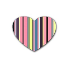 Seamless Colorful Stripes Pattern Background Wallpaper Rubber Coaster (heart)  by Simbadda