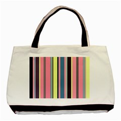 Seamless Colorful Stripes Pattern Background Wallpaper Basic Tote Bag (two Sides) by Simbadda