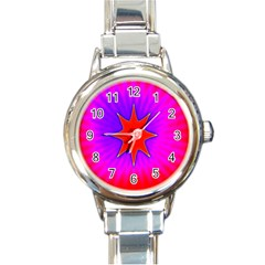 Pink Digital Computer Graphic Round Italian Charm Watch by Simbadda