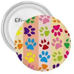 Colorful Animal Paw Prints Background 3  Buttons by Simbadda