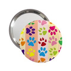 Colorful Animal Paw Prints Background 2 25  Handbag Mirrors by Simbadda