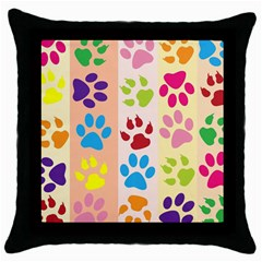 Colorful Animal Paw Prints Background Throw Pillow Case (black) by Simbadda