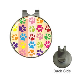 Colorful Animal Paw Prints Background Hat Clips With Golf Markers by Simbadda