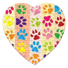Colorful Animal Paw Prints Background Jigsaw Puzzle (heart) by Simbadda