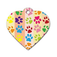 Colorful Animal Paw Prints Background Dog Tag Heart (two Sides) by Simbadda