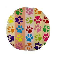 Colorful Animal Paw Prints Background Standard 15  Premium Flano Round Cushions by Simbadda