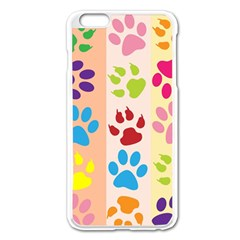 Colorful Animal Paw Prints Background Apple Iphone 6 Plus/6s Plus Enamel White Case by Simbadda