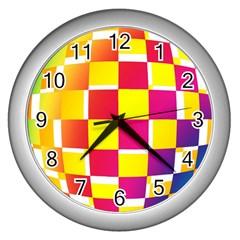 Squares Colored Background Wall Clocks (silver)  by Simbadda