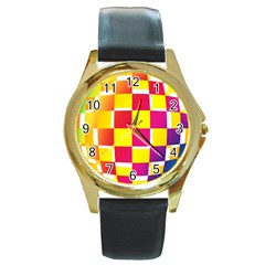Squares Colored Background Round Gold Metal Watch by Simbadda