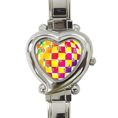 Squares Colored Background Heart Italian Charm Watch by Simbadda