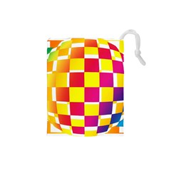 Squares Colored Background Drawstring Pouches (small)  by Simbadda