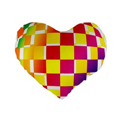 Squares Colored Background Standard 16  Premium Flano Heart Shape Cushions by Simbadda