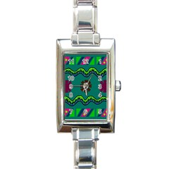A Colorful Modern Illustration Rectangle Italian Charm Watch by Simbadda