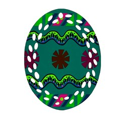A Colorful Modern Illustration Oval Filigree Ornament (two Sides) by Simbadda