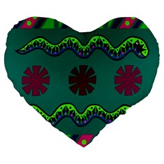 A Colorful Modern Illustration Large 19  Premium Heart Shape Cushions by Simbadda