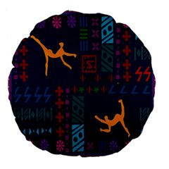 A Colorful Modern Illustration For Lovers Large 18  Premium Flano Round Cushions by Simbadda