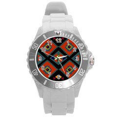 Abstract A Colorful Modern Illustration Round Plastic Sport Watch (l) by Simbadda