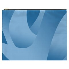 Abstract Blue Background Swirls Cosmetic Bag (xxxl)  by Simbadda