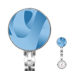Abstract Blue Background Swirls Stainless Steel Nurses Watch
