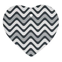 Shades Of Grey And White Wavy Lines Background Wallpaper Ornament (heart)