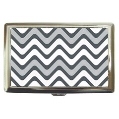 Shades Of Grey And White Wavy Lines Background Wallpaper Cigarette Money Cases by Simbadda