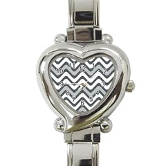 Shades Of Grey And White Wavy Lines Background Wallpaper Heart Italian Charm Watch by Simbadda