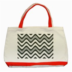 Shades Of Grey And White Wavy Lines Background Wallpaper Classic Tote Bag (red) by Simbadda