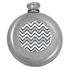 Shades Of Grey And White Wavy Lines Background Wallpaper Round Hip Flask (5 Oz) by Simbadda