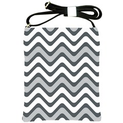 Shades Of Grey And White Wavy Lines Background Wallpaper Shoulder Sling Bags by Simbadda