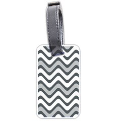 Shades Of Grey And White Wavy Lines Background Wallpaper Luggage Tags (two Sides) by Simbadda