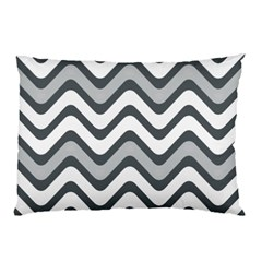 Shades Of Grey And White Wavy Lines Background Wallpaper Pillow Case (two Sides) by Simbadda