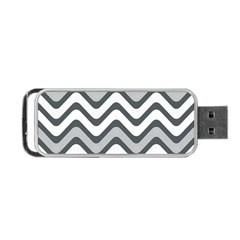 Shades Of Grey And White Wavy Lines Background Wallpaper Portable Usb Flash (two Sides) by Simbadda