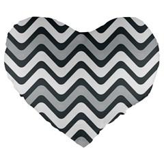 Shades Of Grey And White Wavy Lines Background Wallpaper Large 19  Premium Heart Shape Cushions by Simbadda