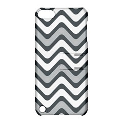 Shades Of Grey And White Wavy Lines Background Wallpaper Apple Ipod Touch 5 Hardshell Case With Stand by Simbadda