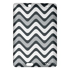 Shades Of Grey And White Wavy Lines Background Wallpaper Amazon Kindle Fire Hd (2013) Hardshell Case by Simbadda