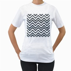 Shades Of Grey And White Wavy Lines Background Wallpaper Women s T Shirt (white)  by Simbadda