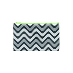 Shades Of Grey And White Wavy Lines Background Wallpaper Cosmetic Bag (xs) by Simbadda