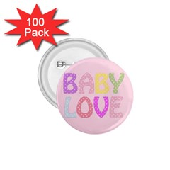 Pink Baby Love Text In Colorful Polka Dots 1 75  Buttons (100 Pack)  by Simbadda