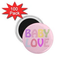 Pink Baby Love Text In Colorful Polka Dots 1 75  Magnets (100 Pack)  by Simbadda