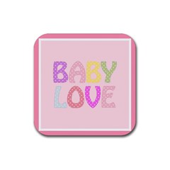 Pink Baby Love Text In Colorful Polka Dots Rubber Coaster (square)  by Simbadda