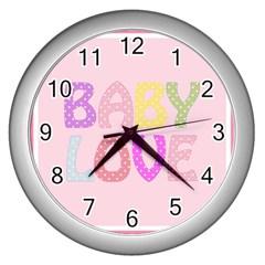 Pink Baby Love Text In Colorful Polka Dots Wall Clocks (silver)  by Simbadda