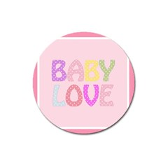 Pink Baby Love Text In Colorful Polka Dots Magnet 3  (round) by Simbadda