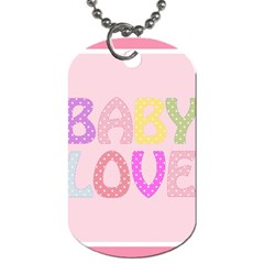 Pink Baby Love Text In Colorful Polka Dots Dog Tag (one Side) by Simbadda