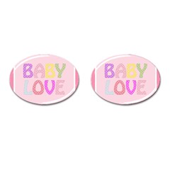 Pink Baby Love Text In Colorful Polka Dots Cufflinks (oval) by Simbadda