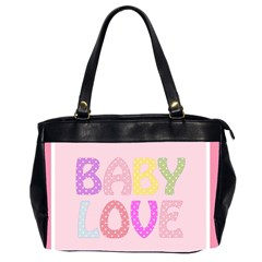 Pink Baby Love Text In Colorful Polka Dots Office Handbags (2 Sides)  by Simbadda