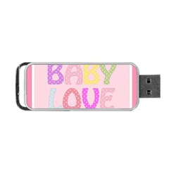 Pink Baby Love Text In Colorful Polka Dots Portable Usb Flash (two Sides) by Simbadda