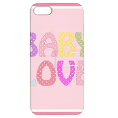 Pink Baby Love Text In Colorful Polka Dots Apple Iphone 5 Hardshell Case With Stand by Simbadda