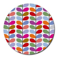 Colorful Bright Leaf Pattern Background Round Mousepads by Simbadda