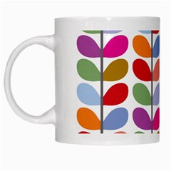 Colorful Bright Leaf Pattern Background White Mugs by Simbadda